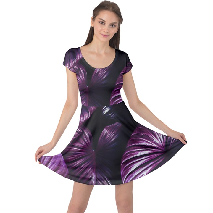 Purple Leaves Cap Sleeve Dress