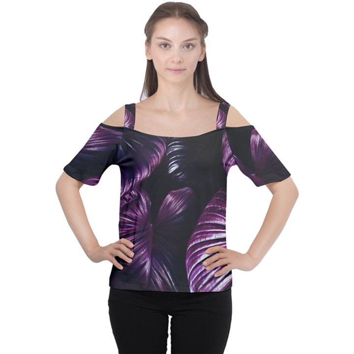 Purple Leaves Cutout Shoulder Tee