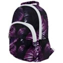 Purple Leaves Rounded Multi Pocket Backpack View1
