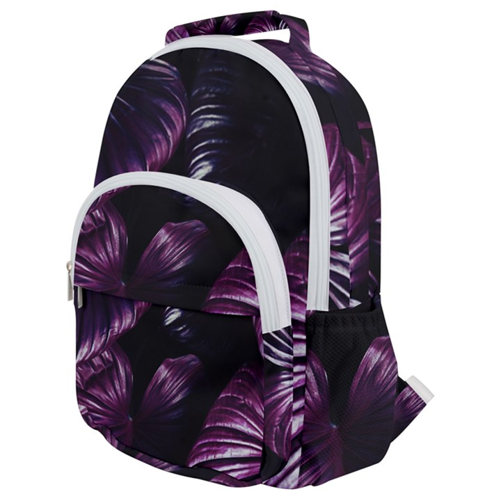 Purple Leaves Rounded Multi Pocket Backpack