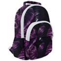 Purple Leaves Rounded Multi Pocket Backpack View2