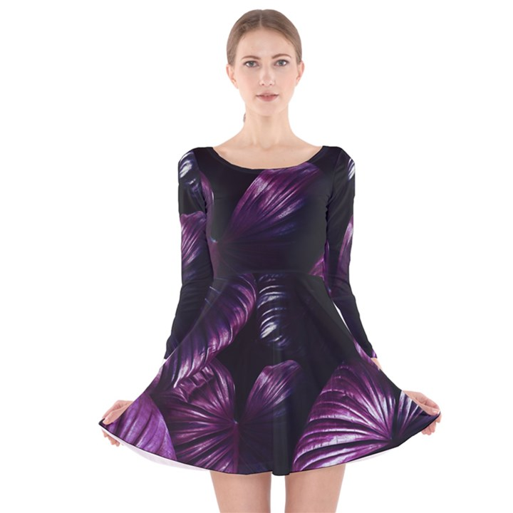 Purple Leaves Long Sleeve Velvet Skater Dress