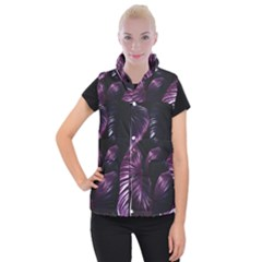 Purple Leaves Women s Button Up Vest by Pakrebo