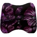 Purple Leaves Velour Head Support Cushion View2