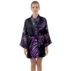 Purple Leaves Long Sleeve Kimono Robe