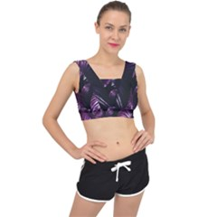 Purple Leaves V Back Sports Bra