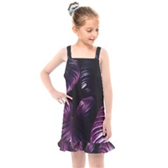 Purple Leaves Kids  Overall Dress