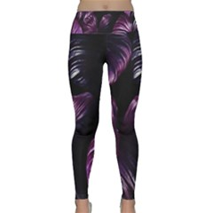Purple Leaves Lightweight Velour Classic Yoga Leggings by Pakrebo