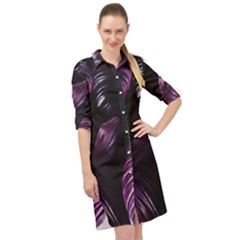 Purple Leaves Long Sleeve Mini Shirt Dress