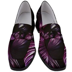 Purple Leaves Women s Chunky Heel Loafers
