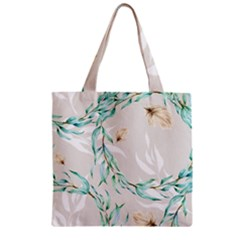 Floral Boho Watercolor Pattern Zipper Grocery Tote Bag