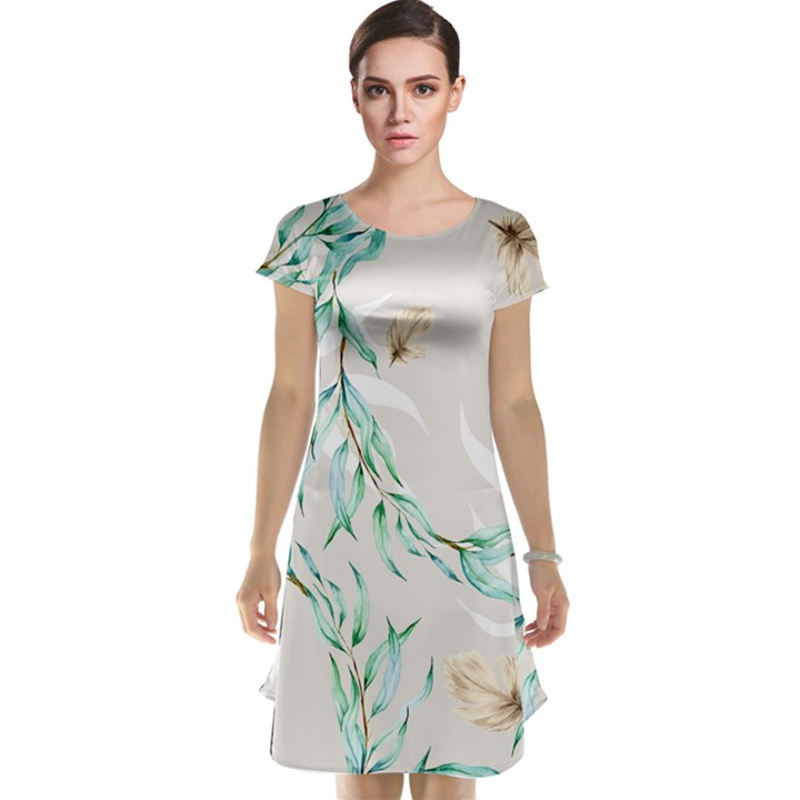 Floral Boho Watercolor Pattern Cap Sleeve Nightdress