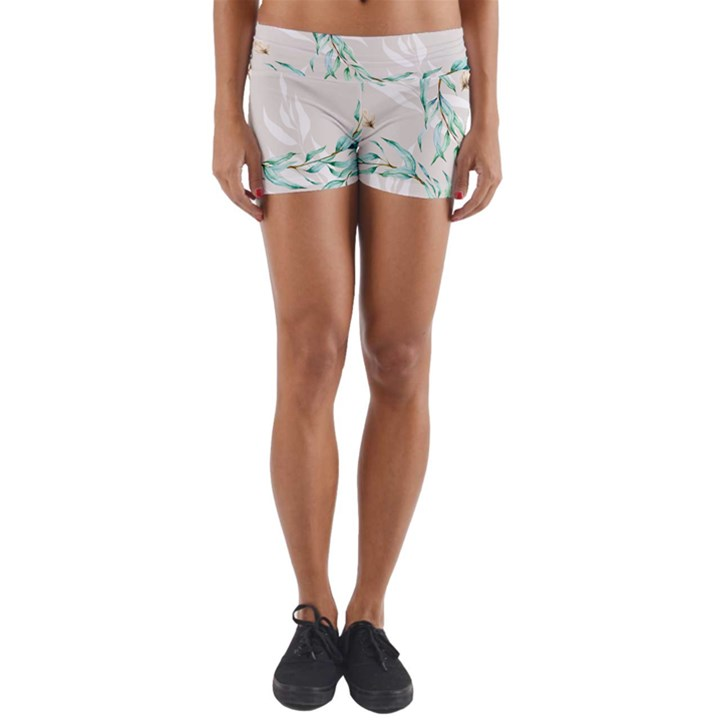 Floral Boho Watercolor Pattern Yoga Shorts