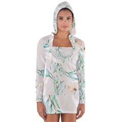 Floral Boho Watercolor Pattern Long Sleeve Hooded T Shirt