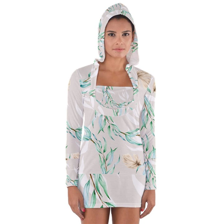 Floral Boho Watercolor Pattern Long Sleeve Hooded T-shirt