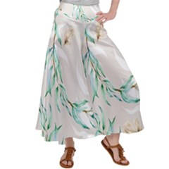Floral Boho Watercolor Pattern Satin Palazzo Pants by tarastyle