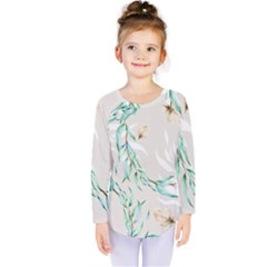 Floral Boho Watercolor Pattern Kids  Long Sleeve Tee