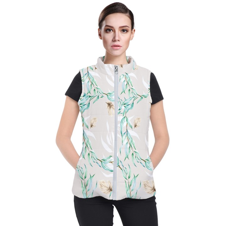 Floral Boho Watercolor Pattern Women s Puffer Vest