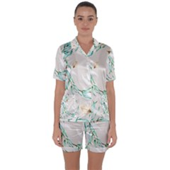 Floral Boho Watercolor Pattern Satin Short Sleeve Pyjamas Set by tarastyle