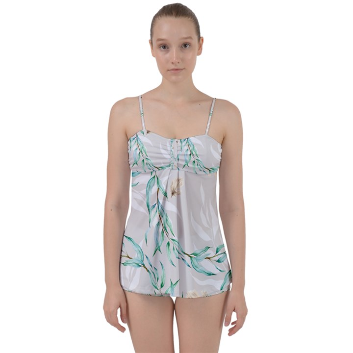 Floral Boho Watercolor Pattern Babydoll Tankini Set
