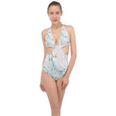 Floral Boho Watercolor Pattern Halter Front Plunge Swimsuit