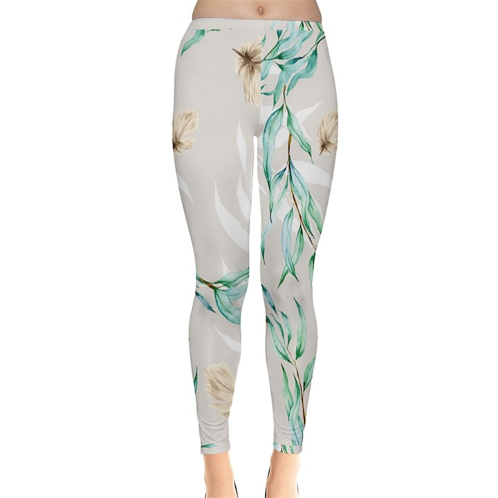 Floral Boho Watercolor Pattern Inside Out Leggings
