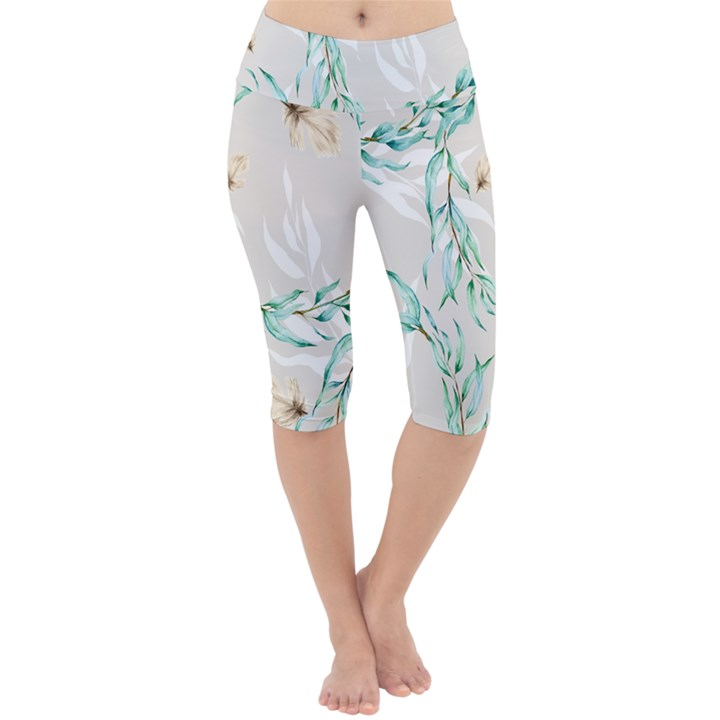 Floral Boho Watercolor Pattern Lightweight Velour Cropped Yoga Leggings