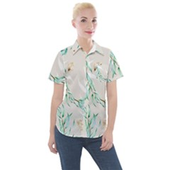 Floral Boho Watercolor Pattern Women s Short Sleeve Pocket Shirt