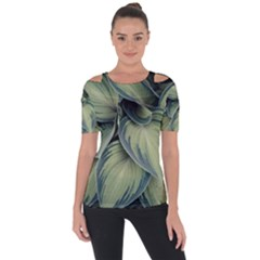 Closeup Photo Of Green Variegated Leaf Plants Shoulder Cut Out Short Sleeve Top by Pakrebo