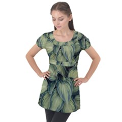 Closeup Photo Of Green Variegated Leaf Plants Puff Sleeve Tunic Top by Pakrebo