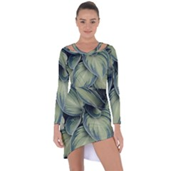 Closeup Photo Of Green Variegated Leaf Plants Asymmetric Cut Out Shift Dress