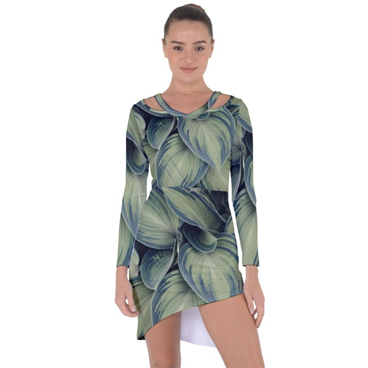 Closeup Photo Of Green Variegated Leaf Plants Asymmetric Cut-Out Shift Dress