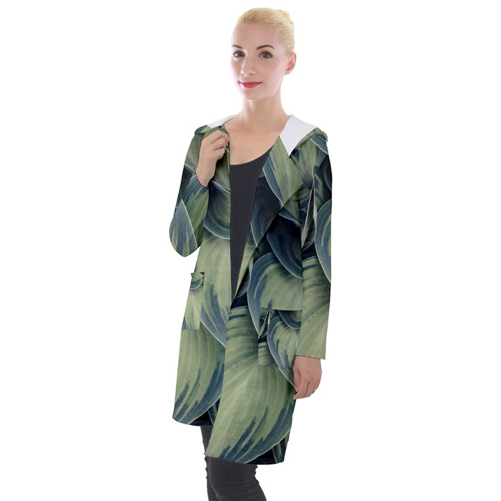 Closeup Photo Of Green Variegated Leaf Plants Hooded Pocket Cardigan