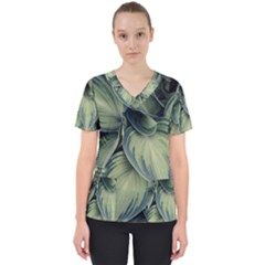 Closeup Photo Of Green Variegated Leaf Plants Women s V Neck Scrub Top by Pakrebo