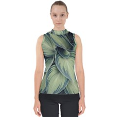 Closeup Photo Of Green Variegated Leaf Plants Mock Neck Shell Top by Pakrebo