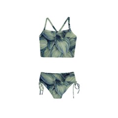 Closeup Photo Of Green Variegated Leaf Plants Girls  Tankini Swimsuit