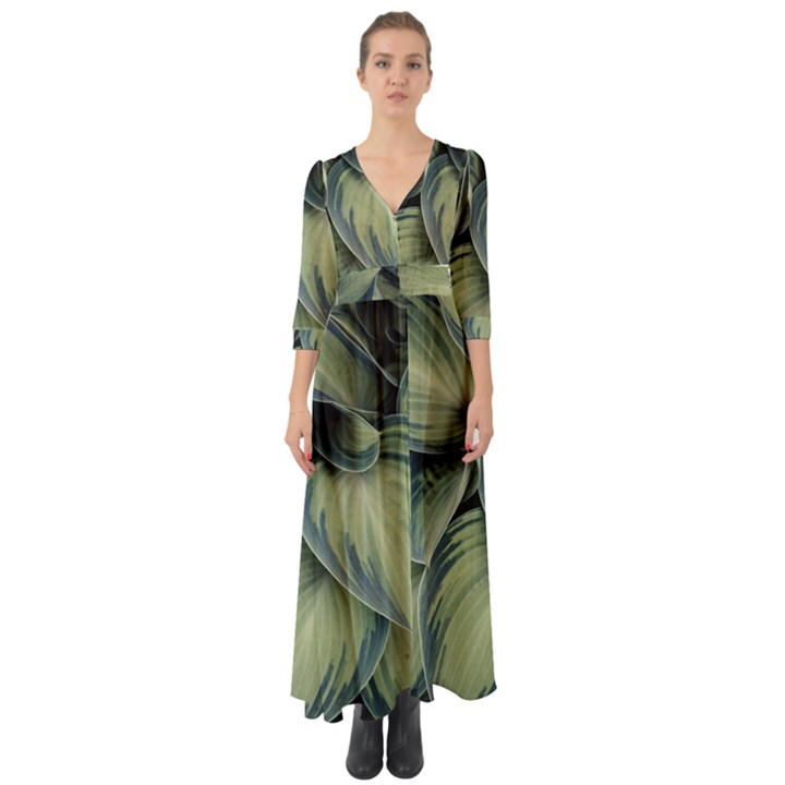 Closeup Photo Of Green Variegated Leaf Plants Button Up Boho Maxi Dress