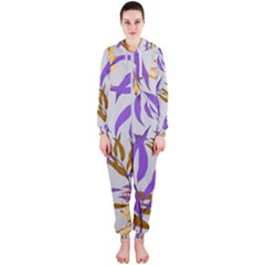 Floral Boho Watercolor Pattern Hooded Jumpsuit (ladies)