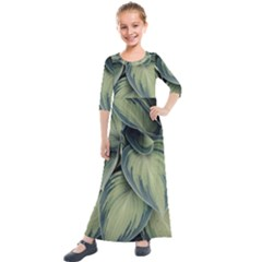 Closeup Photo Of Green Variegated Leaf Plants Kids  Quarter Sleeve Maxi Dress by Pakrebo