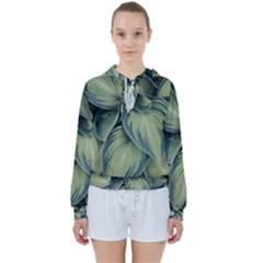Closeup Photo Of Green Variegated Leaf Plants Women s Tie Up Sweat