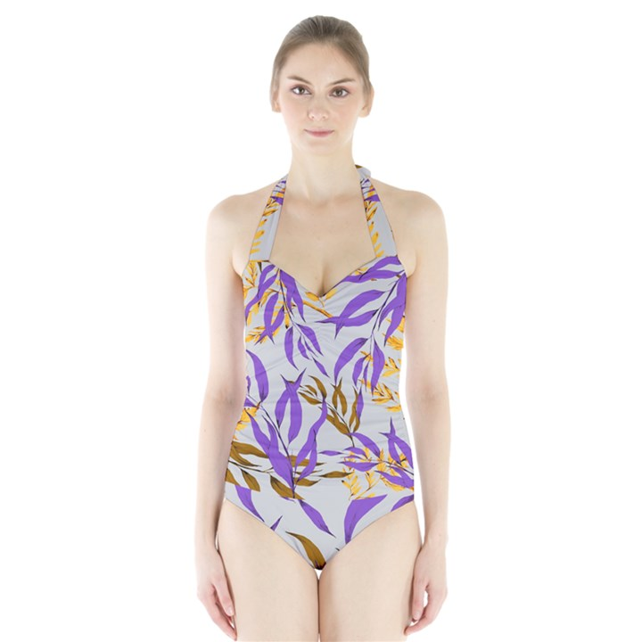Floral Boho Watercolor Pattern Halter Swimsuit