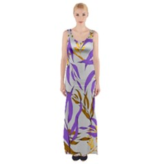 Floral Boho Watercolor Pattern Maxi Thigh Split Dress
