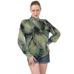Closeup Photo Of Green Variegated Leaf Plants High Neck Long Sleeve Chiffon Top by Pakrebo
