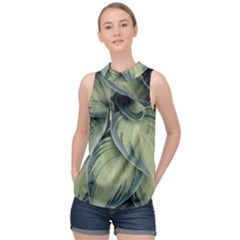 Closeup Photo Of Green Variegated Leaf Plants High Neck Satin Top by Pakrebo