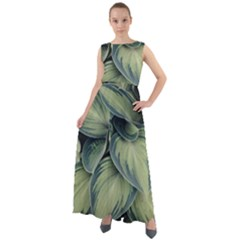 Closeup Photo Of Green Variegated Leaf Plants Chiffon Mesh Maxi Dress
