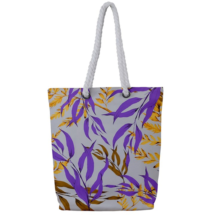 Floral Boho Watercolor Pattern Full Print Rope Handle Tote (Small)