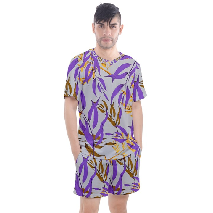 Floral Boho Watercolor Pattern Men s Mesh Tee and Shorts Set