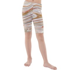 Brown And Yellow Abstract Painting Kids  Mid Length Swim Shorts by Pakrebo
