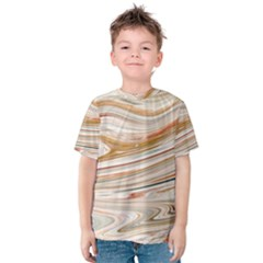 Brown And Yellow Abstract Painting Kids  Cotton Tee by Pakrebo