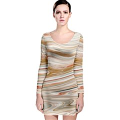 Brown And Yellow Abstract Painting Long Sleeve Bodycon Dress